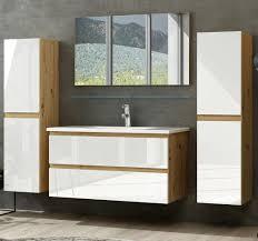 badmöbel set eiche weiss hochglanz badezimmermöbel hochschrank waschtisch spiegel bad 6teilig eiche