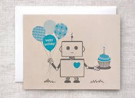 Robot Birthday Card Blue Happy Birthday Card Eco friendly Card For Boy For Him