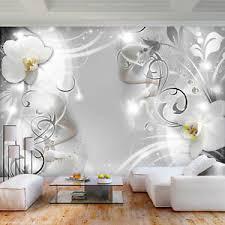 details zu vlies fototapete 3d effekt silber blumen wandbilder deko tapete schlafzimmer