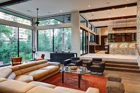 Rustic Area Rugs Living Room Modern With Transom Windows Tall Ceiling Fan