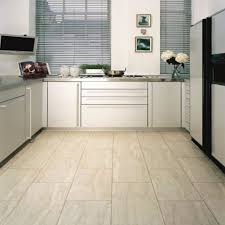 kitchen floor tile ideas with oak cabinets built in ovens brown