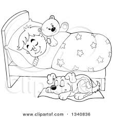 Lineart Clipart of a Cartoon Black and White Dog Sleeping by a Boy