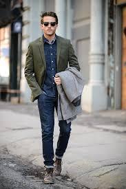 men u0027s grey overcoat olive blazer navy denim shirt navy skinny