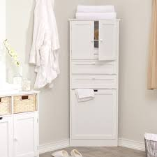 white free standing corner pantry cabinet for bathroom combined