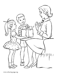 Kids Giving Gifts To Mom Coloring Page