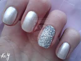 Silver Nails With Accent Glitter Nail Art