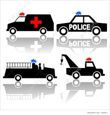 100 Tow Truck Clipart Illustration Of Ambulance Police Car Fire Silhouettes