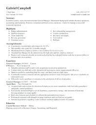 Resume Examples For Restaurant Manager Example Of Bar