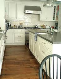 Sylvia And Ray Gray Quartz Countertops White Cabinets Grey Ceasarstone Cement TM Transitional Kitchen Carla Lane Interiors