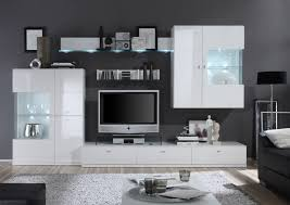 tolle wohnwand weiß lack möbel wohnzimmer graue wände