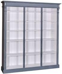 casa padrino landhausstil bücherschrank antik blau weiß 180 x 39 x h 197 cm massivholz schrank regalschrank wohnzimmerschrank landhausstil