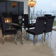 100 6 Chairs For Dining Room Louis Black Glass And 200cm Steel Table And
