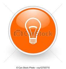 light bulb orange circle glossy web icon on white background