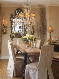 Dining Room French Country Decorating Ideas With Rustic Table And Slipcovered Chairs Crystal Chandelier