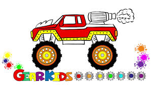 How To Draw A Monster Truck For Kids. Easy Drawing And Coloring ...