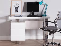 bureau blanc brillant bureau design bois laqué piètement métal chromé 3 tiroirs l115cm