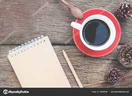 Creative Flat Lay Cup Of Coffee With Craft Paper Diary On Wooden Table Photo By Schantalao