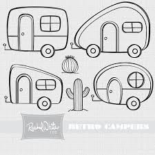 Retro Campers Digital Stamp Set Repinned By RainyDayEmbrdry Etsy Shop Camper DrawingCamper