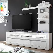tv lowboard in weiß hochglanz inkl led und mit griffmulden mit aufsatzregal cogo 61 bxhxt 217x163x42cm