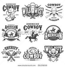 Set Of Vintage Cowboy Emblems Labels Badges Logos And Designed Elements Wild
