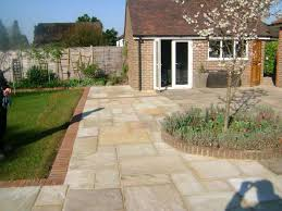 Like This Style Of Patio Slabs And Brick Edging