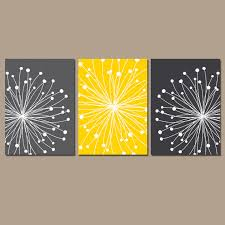 Yellow Gray Bathroom Art by Dandelion Wall Art Canvas Or Prints Gray Yellow By Trmdesign Trm