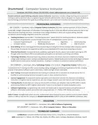 Resume Format Lecturer Computer Science Fresher For In Sample