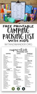 Packing List For Camping With Kids