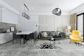 3d rendering moderne fliesen wohnzimmer und esszimmer stockfoto und mehr bilder architektur
