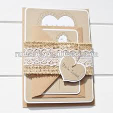 Rustic Heart Shape Laser Cut Wedding Invitation With A Lace And Burlap Belly Band