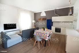 moderne wohnung offener raum mit wohnzimmer und weißer küche stockfoto und mehr bilder arbeitsplatte