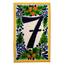 Mexican Tile House Numbers With Frame by House Address Number Ceramic Tiles Peaches Motif Native Trails