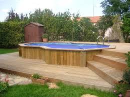 montpellier 34 piscine standard semi enterrée et terrasse bois
