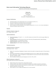 Information Technology Resume Examples Sample Of Entry Level 2016