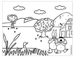 Coloring Pages Printable Book Tree Printing Farm Garden House Antenna Apple Dog Horse Duck Sky