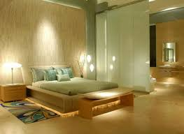 Glamorous Zen Room Decor In Modern Bedroom Design Ideas With Table Lamp And Wood Bench Also Pattern Rugs Bedside Plus Frosted Glass