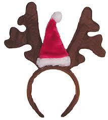 reindeer headband with santa hat antlers