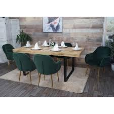 6x esszimmerstuhl hwc f18 stuhl küchenstuhl retro design samt grün goldene beine