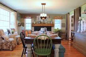 Mission Style Dining Room Farmhouse With Lighting Silver Candleholders
