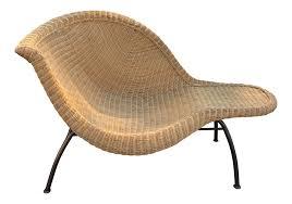 Vintage Modern Wicker Chaise Lounge
