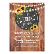 Sunflower Rustic String Lights Wedding Evening Card