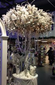 Another Style Of Umbrella Christmas Tree This One Is Flocked White Branches And Decorated With Foliage Glass Icicles Lots Hanging