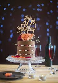 Happy 40th Anniversary Cake Topper Gold Glitter DIY Rustic
