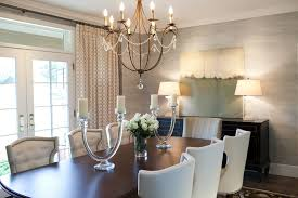 Faux Candle Chandelier Dining Room Transitional With None
