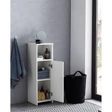 wohnling badschrank 30 x 95 5 x 30 cm weiß holz mit tür und ablagefach kleiner bad schrank beistellschrank stehend badregal schmal freistehend