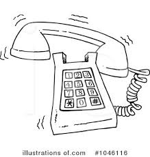 telephone ringing clipart black and white 1