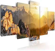 decomonkey bilder berge gebirge 200x100 cm 5 teilig leinwandbilder bild auf leinwand vlies wandbild kunstdruck wanddeko wand wohnzimmer