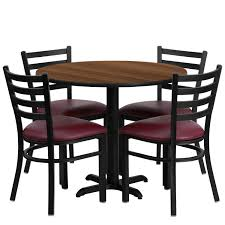 Flash Furniture 36'' Round Walnut Laminate Table Set With 4 Ladder Back  Metal Chairs, Burgundy Vinyl Seat Black, Burgundy, Walnut Vintage Mid Century Chrome And Vinyl Play Table Chair Set 5 Piece Card Products Table Set Mcintosh Ding 6 Chairs Black Multipurpose 42 Round Xt Base With 4 Manor Antimicrobial Stack Cherry Finish And Teal Drop Leaf Four Teak Danish Design Flash Fniture 36 Square Walnut Laminate Ladder Back Metal Seat Trademark Gameroom Coca Cola Upholstery Pub Bar Stools Backs Cool Retro Dinettes 1950s Style Cadian Made Sets Details About 5piece Folding Indoor Room Game Friends Upholstered Cosco Natural Grid