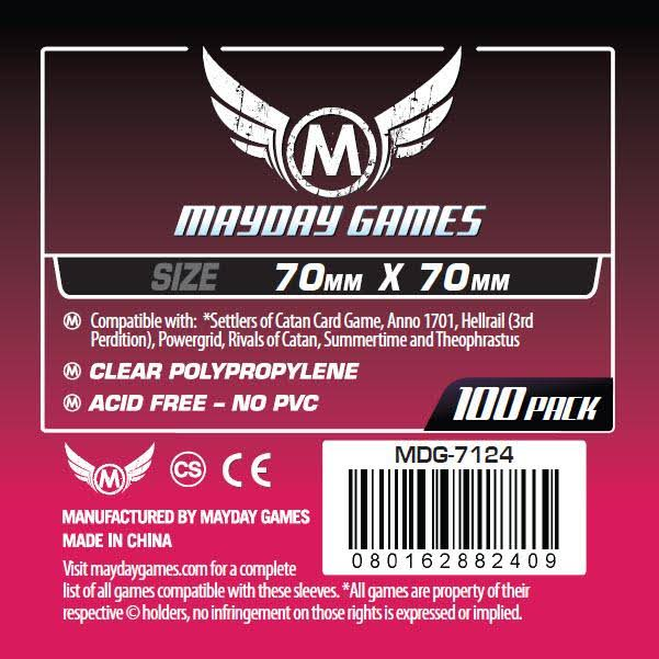 Mayday Games 7124 Small Square Card Sleeves - 70mm x 70mm, 100ct
