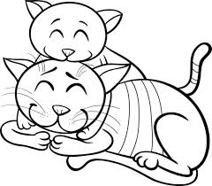 Kitten Coloring Book Black And White Cartoon Illustration Of Happy Cat Mother With Little For